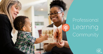 LSL Professional holds baby with hearing loss as mom reads a book aloud