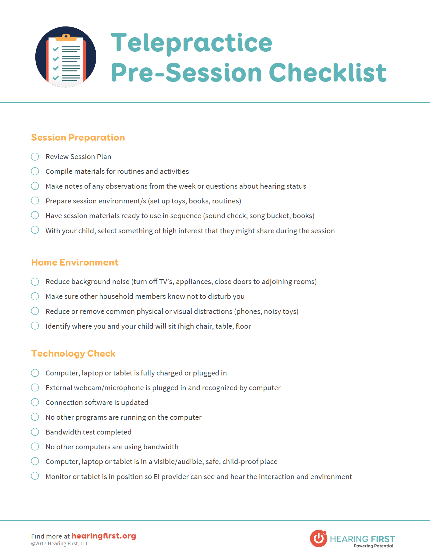 Preview of Telepractice Pre-Session Checklist PDF